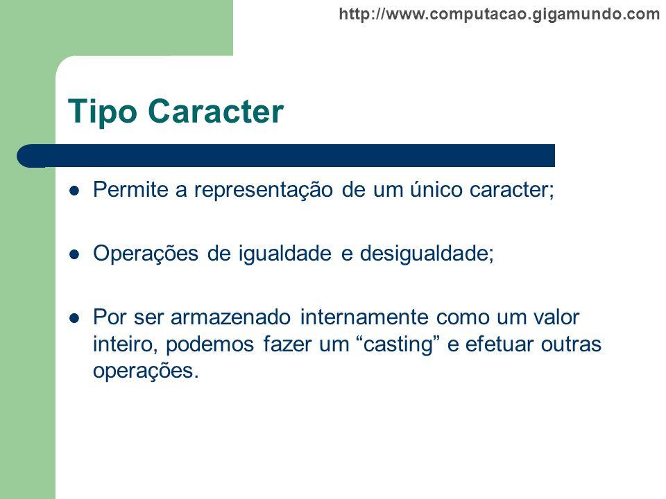 http://www.computacao.gigamundo.com Tipo Caracter Permite a representação de um único caracter; Operações de igualdade e desigualdade; Por ser armazen