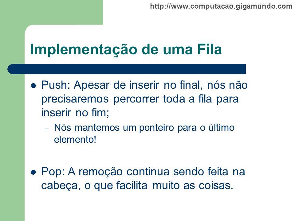 http://www.computacao.gigamundo.com Implementação de uma Fila Push: Apesar de inserir no final, nós não precisaremos percorrer toda a fila para inseri