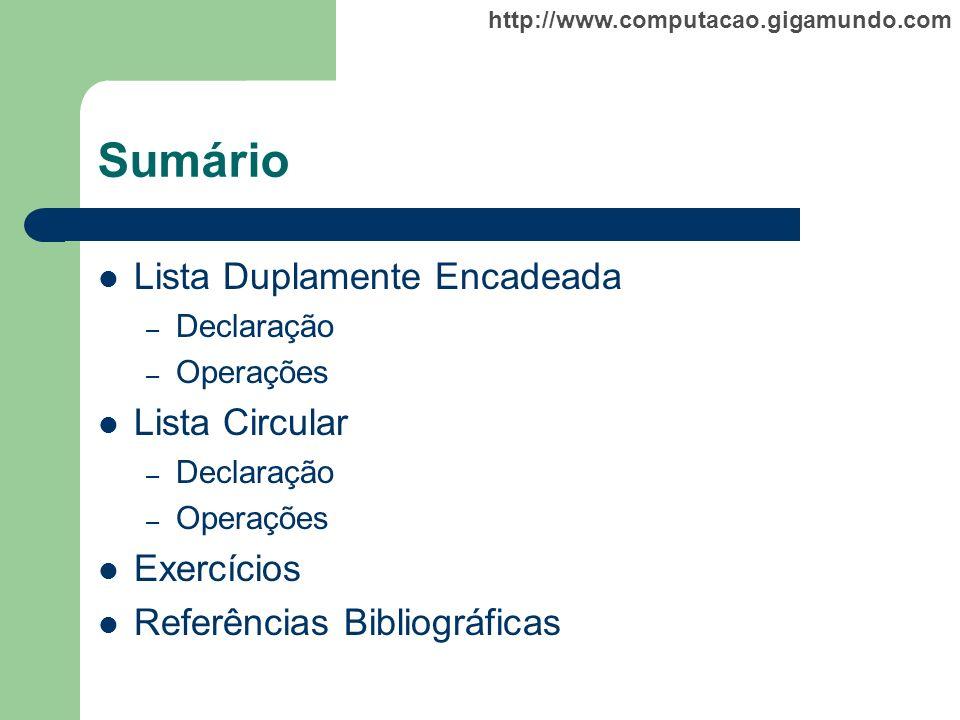 http://www.computacao.gigamundo.com Sumário Lista Duplamente Encadeada – Declaração – Operações Lista Circular – Declaração – Operações Exercícios Ref