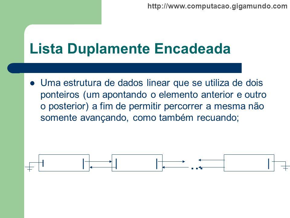 http://www.computacao.gigamundo.com Lista Duplamente Encadeada Uma estrutura de dados linear que se utiliza de dois ponteiros (um apontando o elemento
