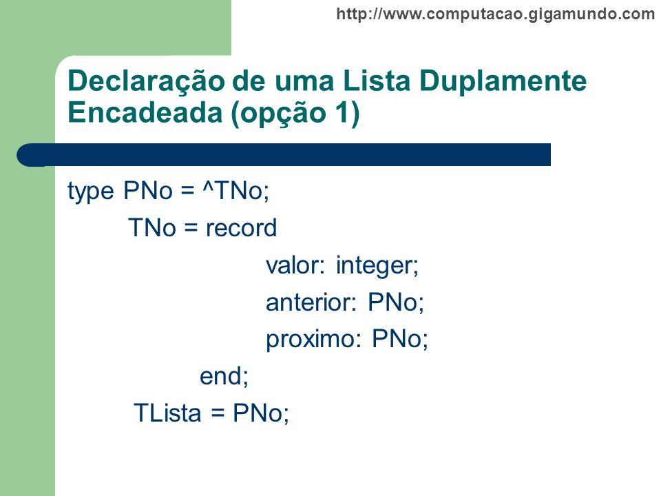 http://www.computacao.gigamundo.com Declaração de uma Lista Duplamente Encadeada (opção 1) type PNo = ^TNo; TNo = record valor: integer; anterior: PNo