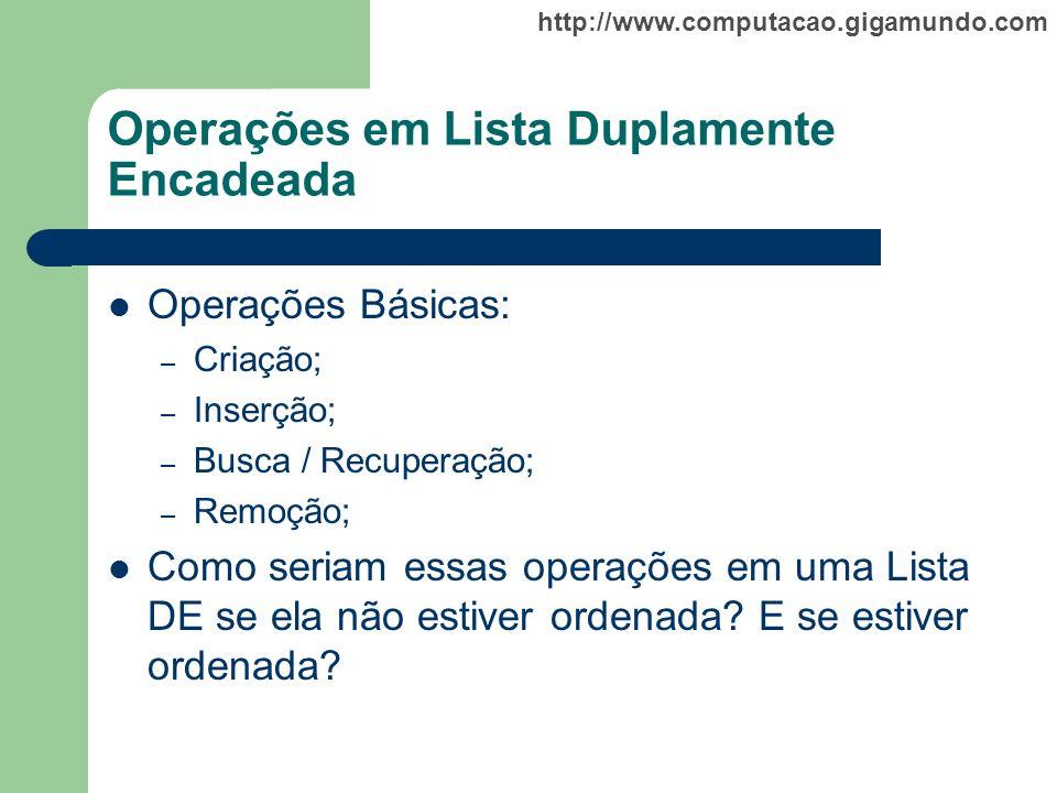 http://www.computacao.gigamundo.com Operações em Lista Duplamente Encadeada Operações Básicas: – Criação; – Inserção; – Busca / Recuperação; – Remoção