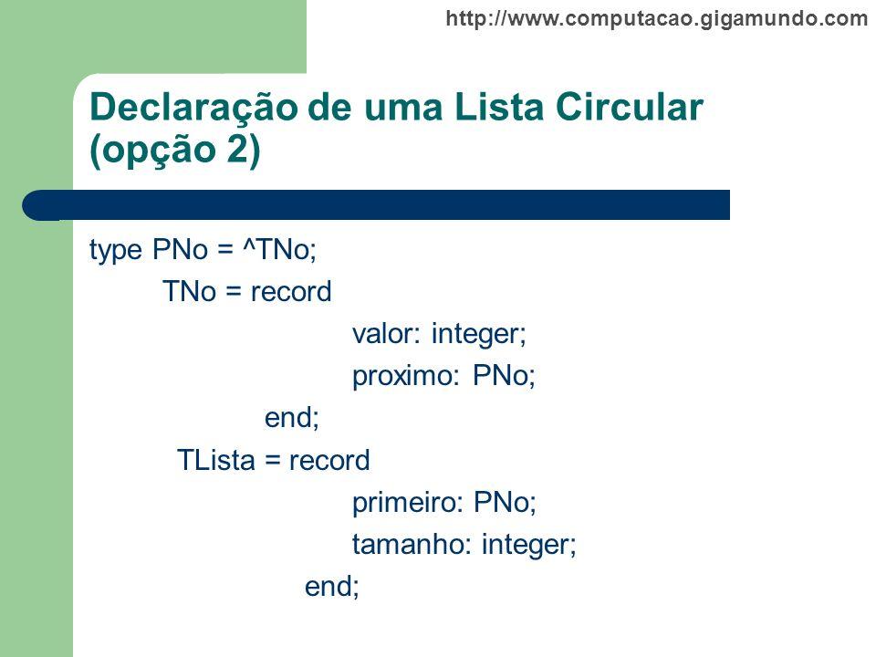 http://www.computacao.gigamundo.com Declaração de uma Lista Circular (opção 2) type PNo = ^TNo; TNo = record valor: integer; proximo: PNo; end; TLista