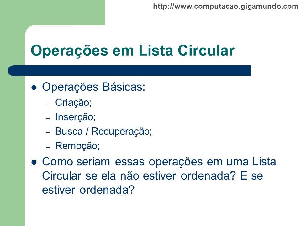 http://www.computacao.gigamundo.com Operações em Lista Circular Operações Básicas: – Criação; – Inserção; – Busca / Recuperação; – Remoção; Como seria