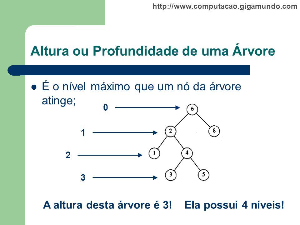 http://www.computacao.gigamundo.com Altura ou Profundidade de uma Árvore É o nível máximo que um nó da árvore atinge; 0 1 2 3 A altura desta árvore é