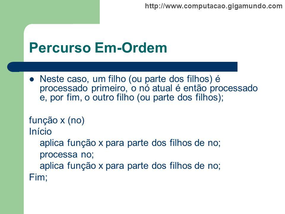 http://www.computacao.gigamundo.com Percurso Em-Ordem Neste caso, um filho (ou parte dos filhos) é processado primeiro, o nó atual é então processado