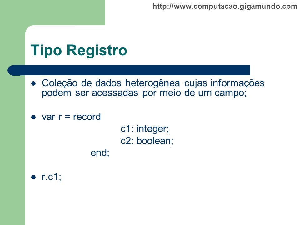 http://www.computacao.gigamundo.com Tipo Registro Coleção de dados heterogênea cujas informações podem ser acessadas por meio de um campo; var r = rec