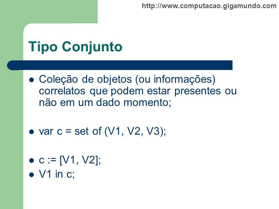http://www.computacao.gigamundo.com Tipo Conjunto Coleção de objetos (ou informações) correlatos que podem estar presentes ou não em um dado momento;