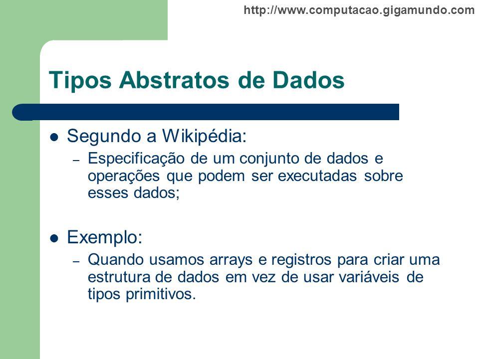 http://www.computacao.gigamundo.com Tipos Abstratos de Dados Segundo a Wikipédia: – Especificação de um conjunto de dados e operações que podem ser ex