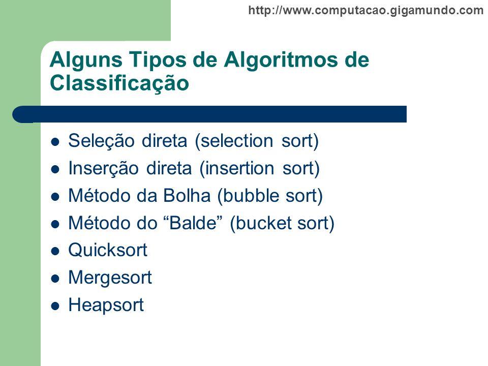 http://www.computacao.gigamundo.com Alguns Tipos de Algoritmos de Classificação Seleção direta (selection sort) Inserção direta (insertion sort) Métod