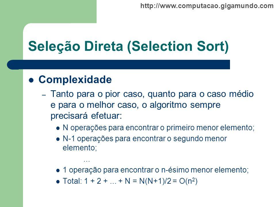 http://www.computacao.gigamundo.com Seleção Direta (Selection Sort) Complexidade – Tanto para o pior caso, quanto para o caso médio e para o melhor ca