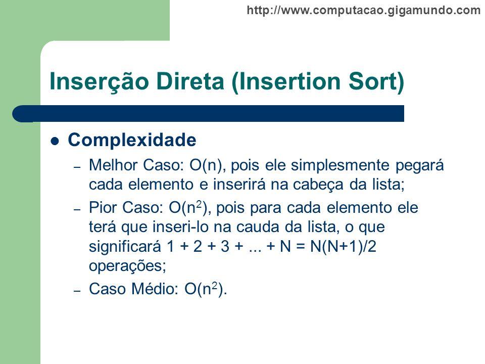 http://www.computacao.gigamundo.com Inserção Direta (Insertion Sort) Complexidade – Melhor Caso: O(n), pois ele simplesmente pegará cada elemento e in