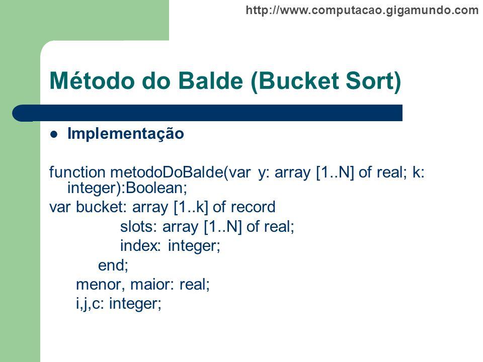 http://www.computacao.gigamundo.com Método do Balde (Bucket Sort) Implementação function metodoDoBalde(var y: array [1..N] of real; k: integer):Boolea