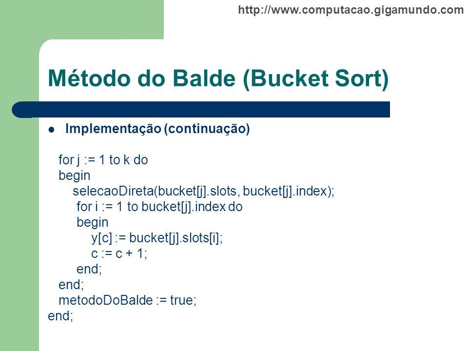 http://www.computacao.gigamundo.com Método do Balde (Bucket Sort) Implementação (continuação) for j := 1 to k do begin selecaoDireta(bucket[j].slots,