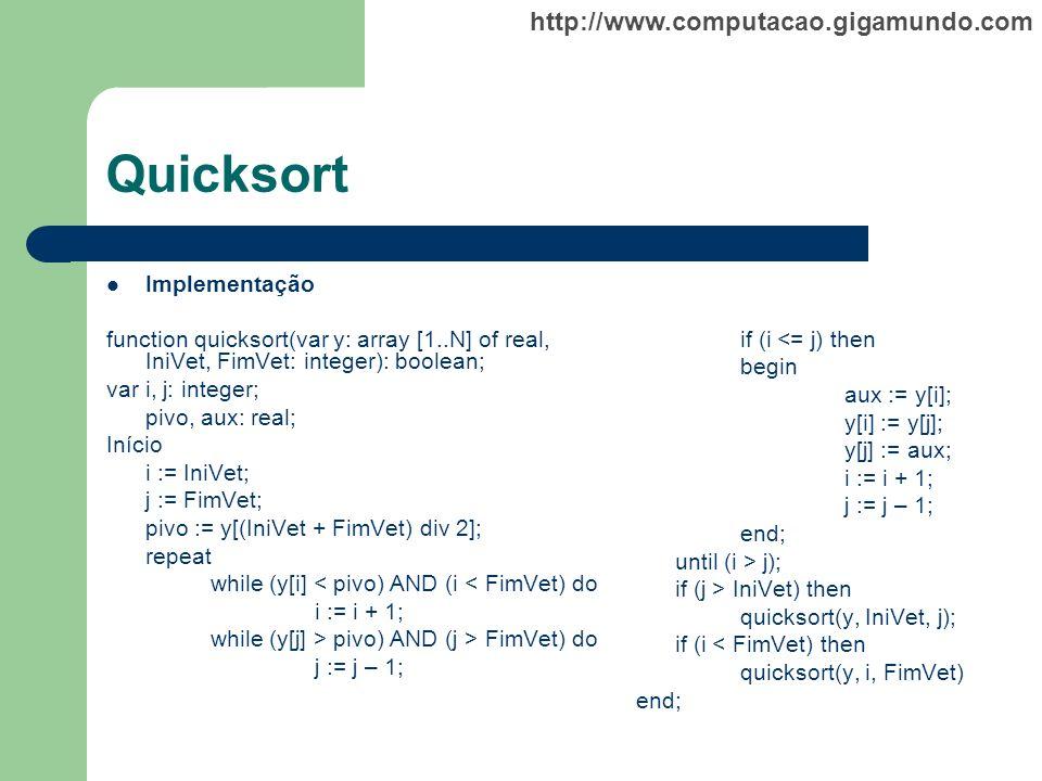 http://www.computacao.gigamundo.com Quicksort Implementação function quicksort(var y: array [1..N] of real, IniVet, FimVet: integer): boolean; var i,