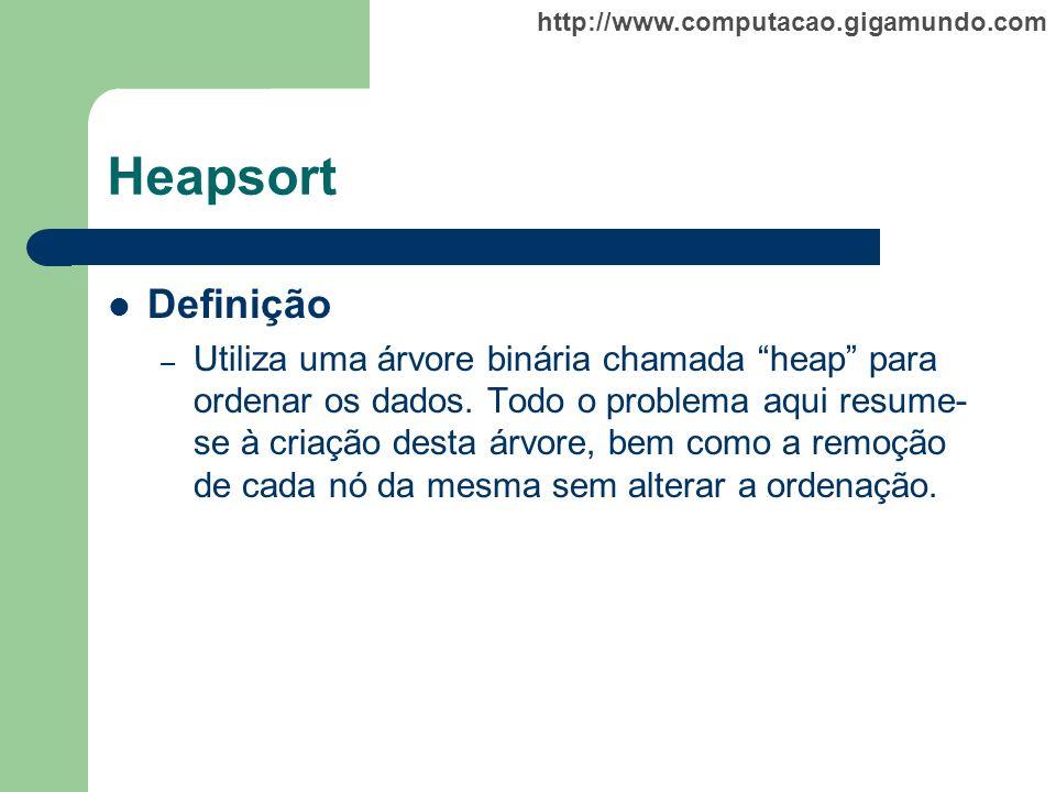 http://www.computacao.gigamundo.com Heapsort Definição – Utiliza uma árvore binária chamada heap para ordenar os dados. Todo o problema aqui resume- s