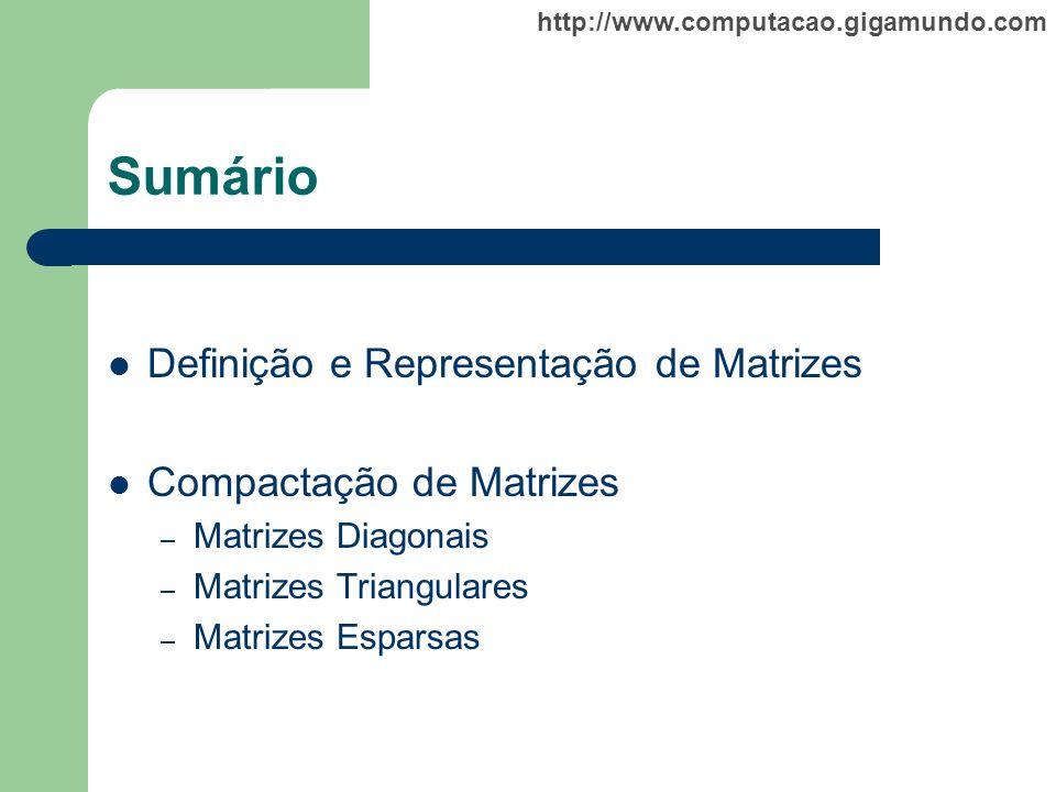 http://www.computacao.gigamundo.com Sumário Definição e Representação de Matrizes Compactação de Matrizes – Matrizes Diagonais – Matrizes Triangulares