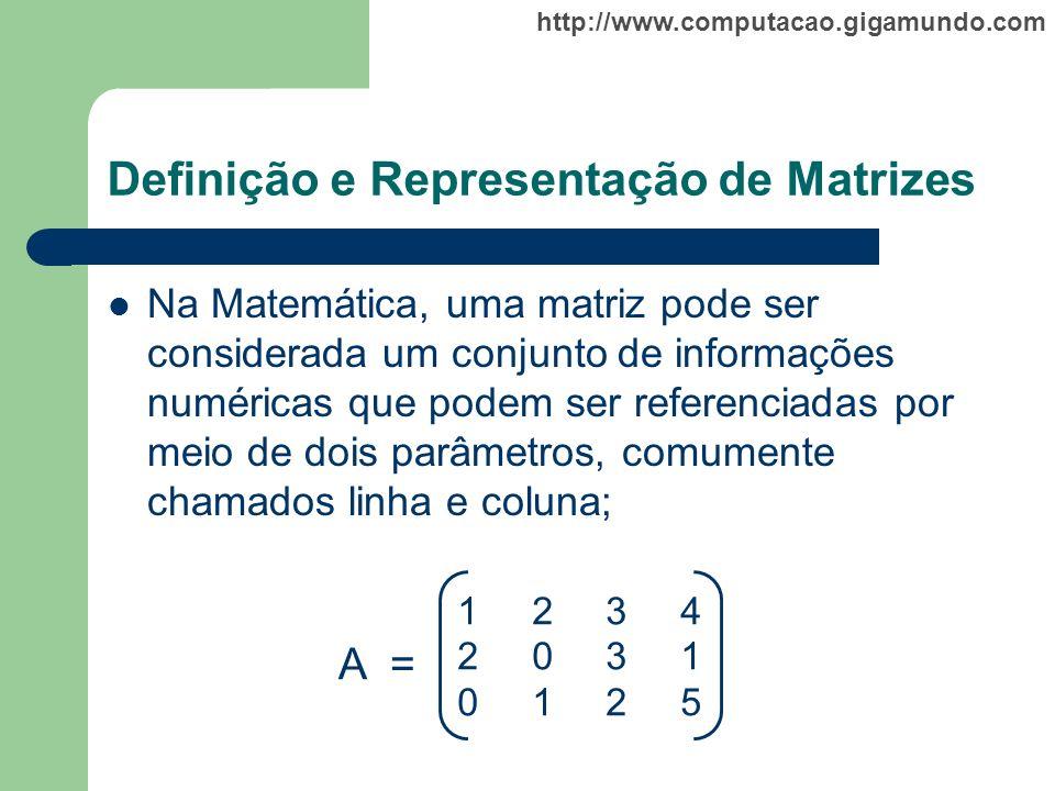 http://www.computacao.gigamundo.com Definição e Representação de Matrizes Na Matemática, uma matriz pode ser considerada um conjunto de informações nu