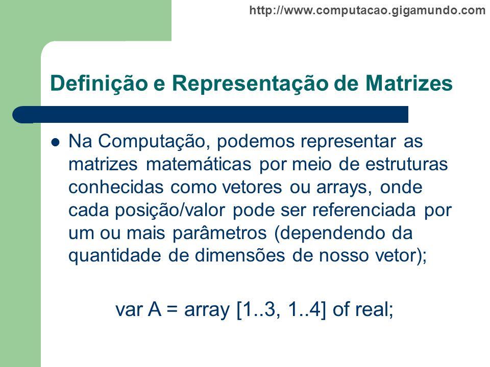 http://www.computacao.gigamundo.com Definição e Representação de Matrizes Na Computação, podemos representar as matrizes matemáticas por meio de estru