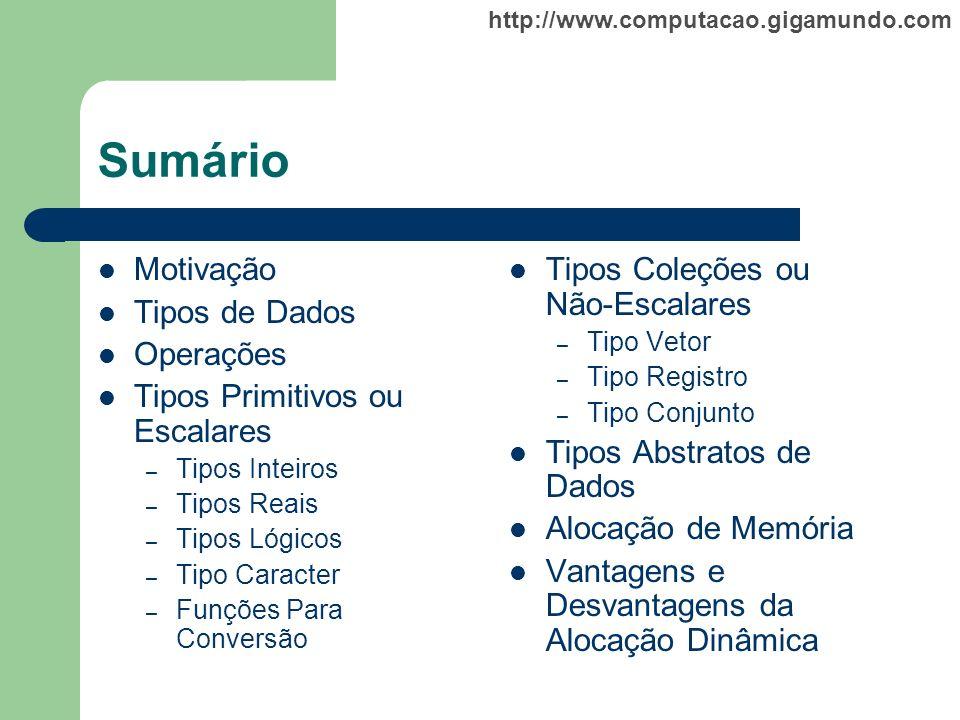 http://www.computacao.gigamundo.com Sumário Motivação Tipos de Dados Operações Tipos Primitivos ou Escalares – Tipos Inteiros – Tipos Reais – Tipos Ló
