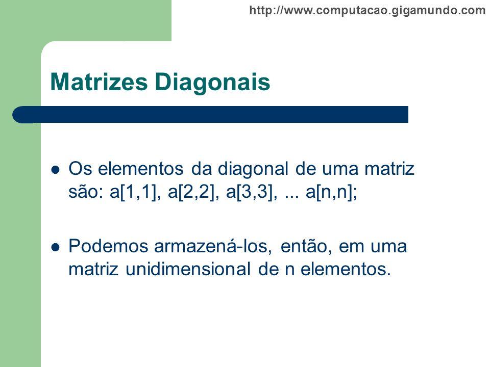 http://www.computacao.gigamundo.com Matrizes Diagonais Os elementos da diagonal de uma matriz são: a[1,1], a[2,2], a[3,3],... a[n,n]; Podemos armazená