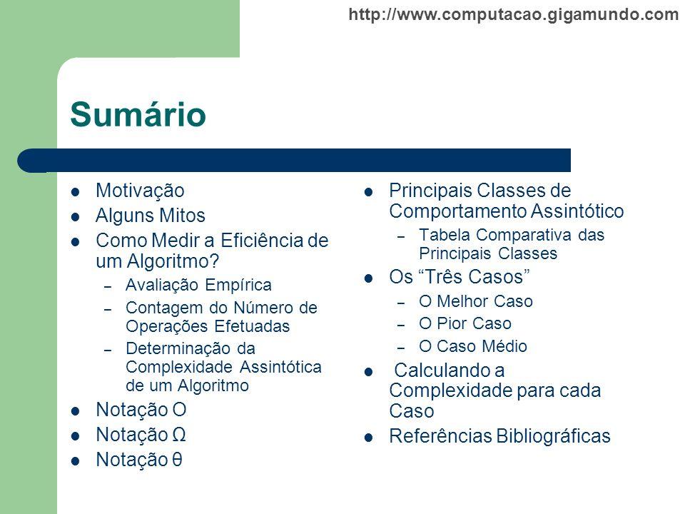 http://www.computacao.gigamundo.com Sumário Motivação Alguns Mitos Como Medir a Eficiência de um Algoritmo? – Avaliação Empírica – Contagem do Número