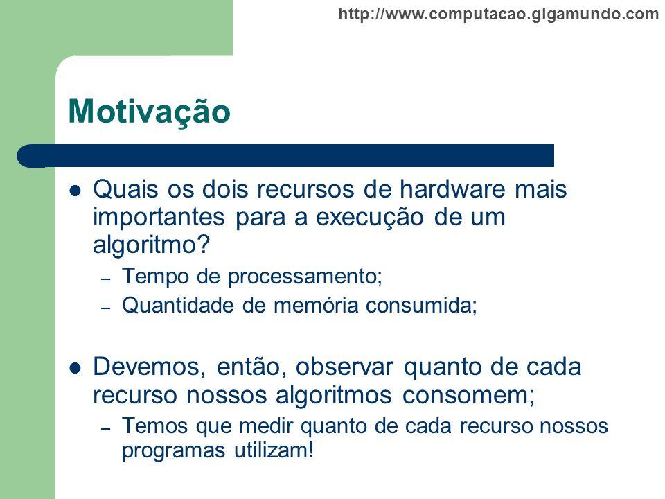 http://www.computacao.gigamundo.com Motivação Quais os dois recursos de hardware mais importantes para a execução de um algoritmo? – Tempo de processa