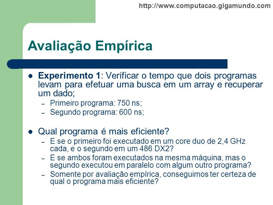 http://www.computacao.gigamundo.com Avaliação Empírica Experimento 1: Verificar o tempo que dois programas levam para efetuar uma busca em um array e