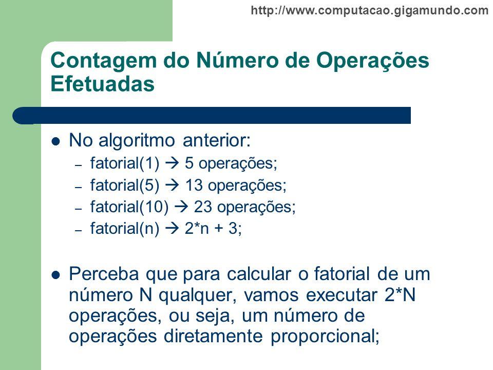 http://www.computacao.gigamundo.com Contagem do Número de Operações Efetuadas No algoritmo anterior: – fatorial(1) 5 operações; – fatorial(5) 13 opera