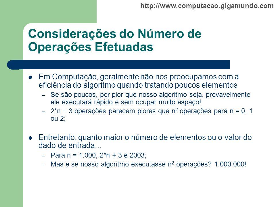 http://www.computacao.gigamundo.com Considerações do Número de Operações Efetuadas Em Computação, geralmente não nos preocupamos com a eficiência do a