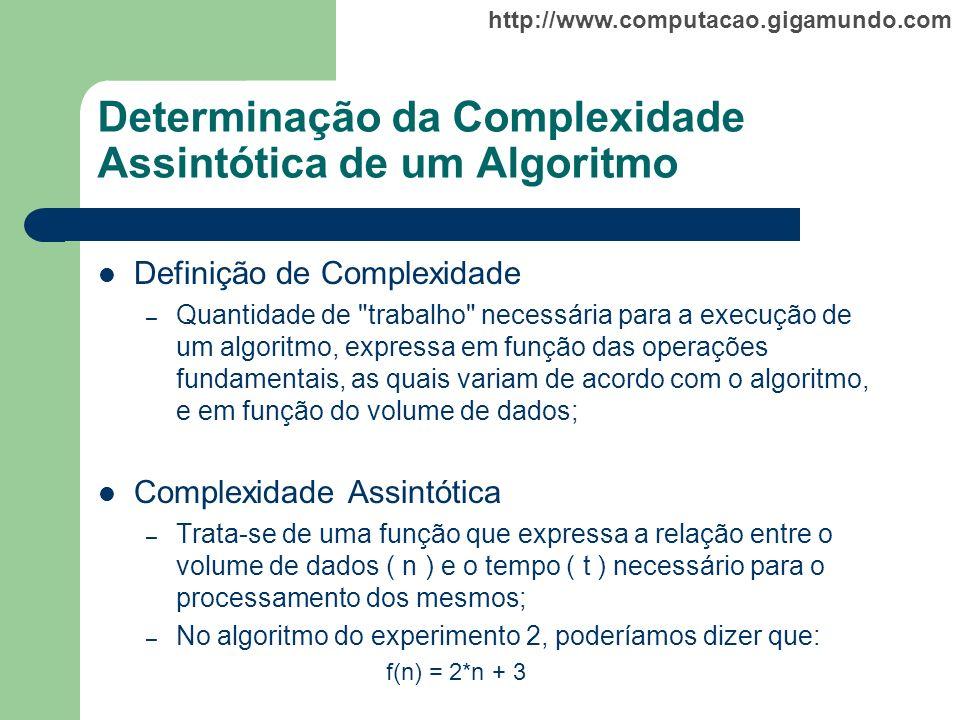 http://www.computacao.gigamundo.com Determinação da Complexidade Assintótica de um Algoritmo Definição de Complexidade – Quantidade de