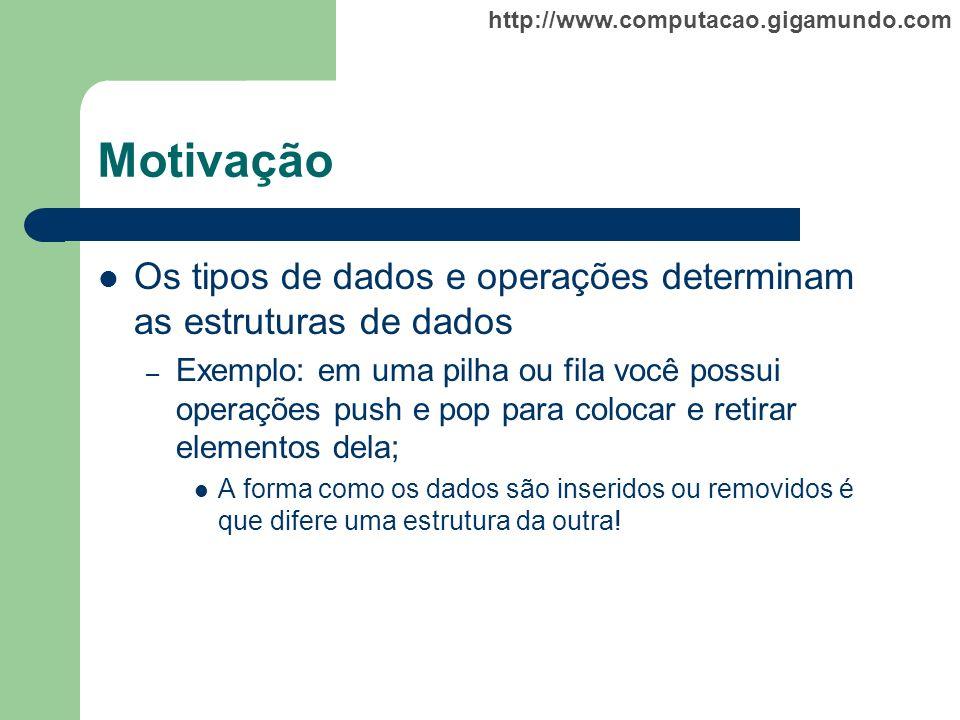 http://www.computacao.gigamundo.com Motivação Os tipos de dados e operações determinam as estruturas de dados – Exemplo: em uma pilha ou fila você pos