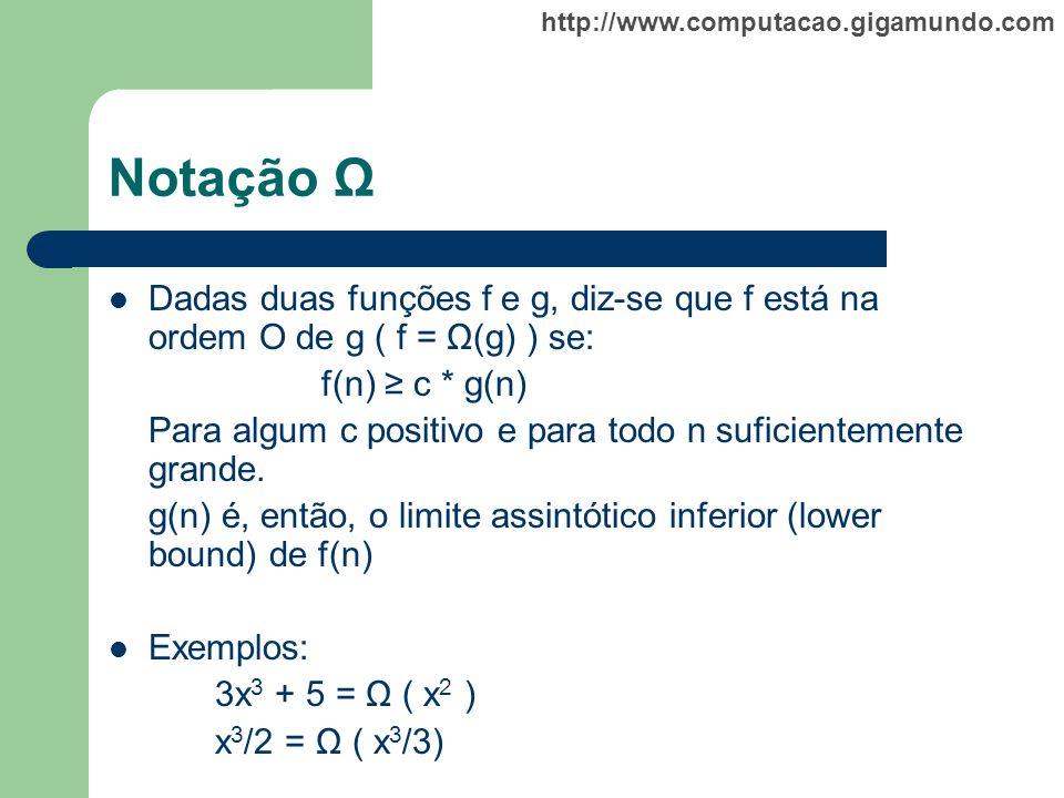 http://www.computacao.gigamundo.com Notação Ω Dadas duas funções f e g, diz-se que f está na ordem O de g ( f = Ω(g) ) se: f(n) c * g(n) Para algum c