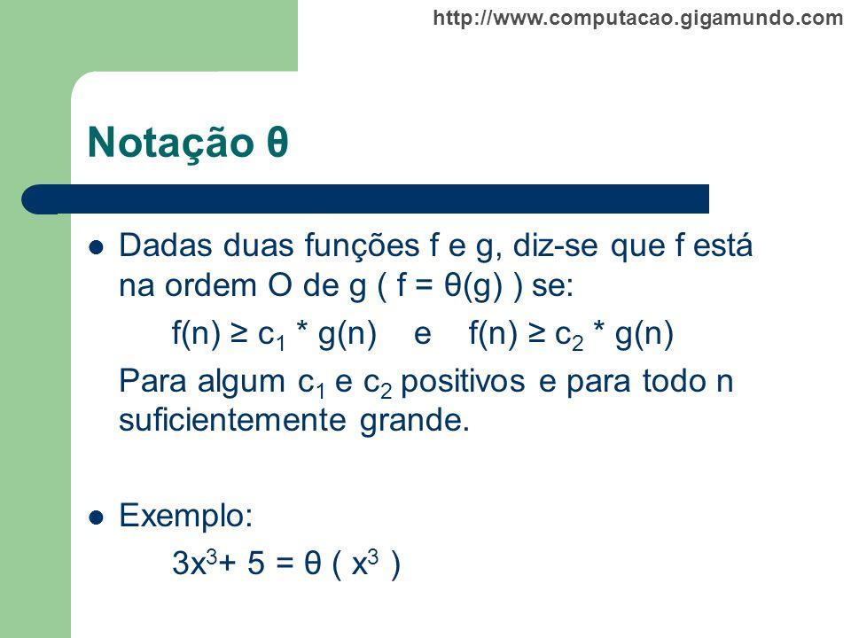 http://www.computacao.gigamundo.com Notação θ Dadas duas funções f e g, diz-se que f está na ordem O de g ( f = θ(g) ) se: f(n) c 1 * g(n) e f(n) c 2