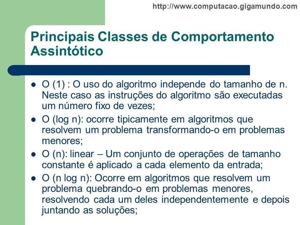 http://www.computacao.gigamundo.com Principais Classes de Comportamento Assintótico O (1) : O uso do algoritmo independe do tamanho de n. Neste caso a