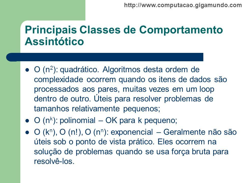 http://www.computacao.gigamundo.com Principais Classes de Comportamento Assintótico O (n 2 ): quadrático. Algoritmos desta ordem de complexidade ocorr