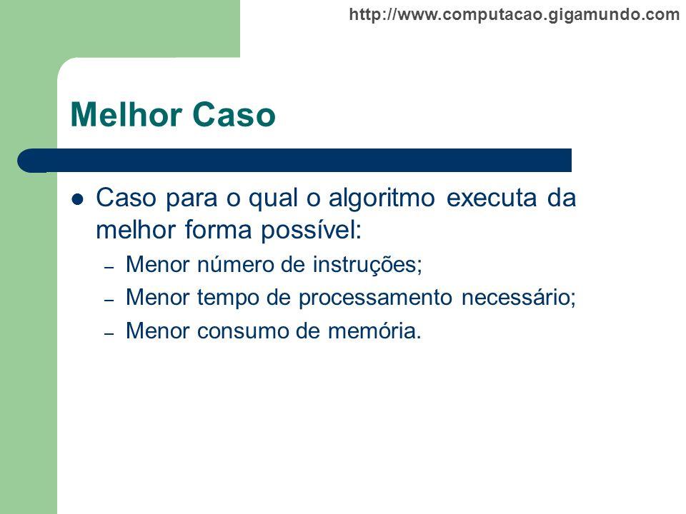 http://www.computacao.gigamundo.com Melhor Caso Caso para o qual o algoritmo executa da melhor forma possível: – Menor número de instruções; – Menor t