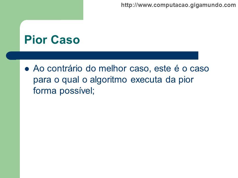 http://www.computacao.gigamundo.com Pior Caso Ao contrário do melhor caso, este é o caso para o qual o algoritmo executa da pior forma possível;