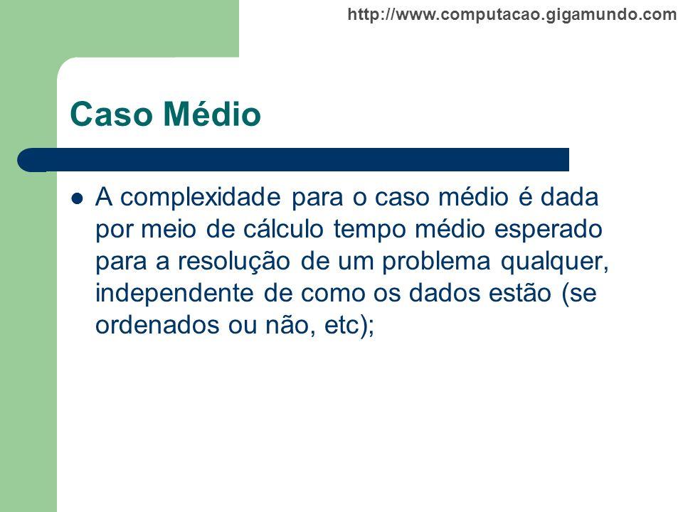http://www.computacao.gigamundo.com Caso Médio A complexidade para o caso médio é dada por meio de cálculo tempo médio esperado para a resolução de um