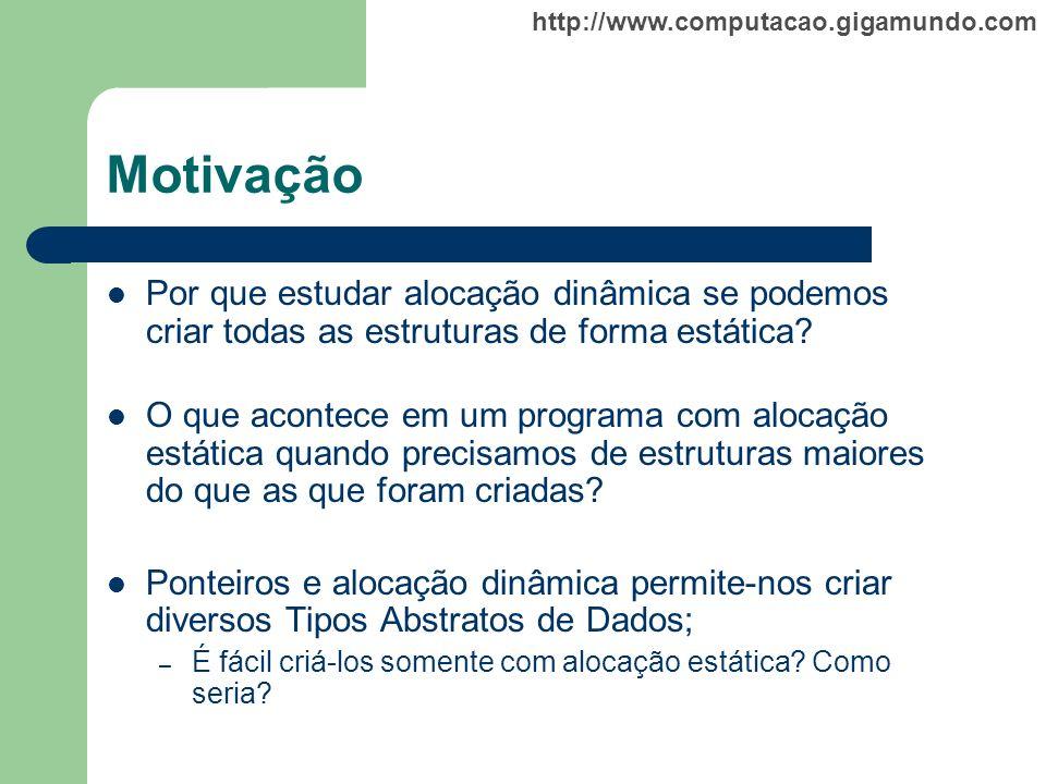 http://www.computacao.gigamundo.com Motivação Por que estudar alocação dinâmica se podemos criar todas as estruturas de forma estática? O que acontece