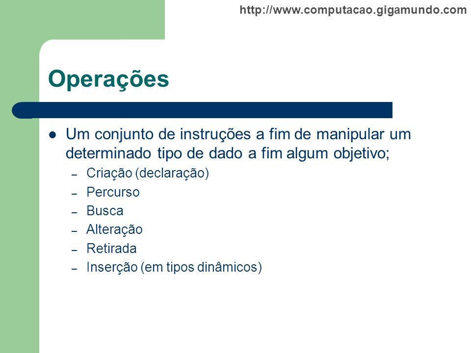 http://www.computacao.gigamundo.com Tipos Primitivos ou Escalares Inteiro (integer, longint, etc.); Real (real, double, etc.); Lógico (boolean); Caracter (char);