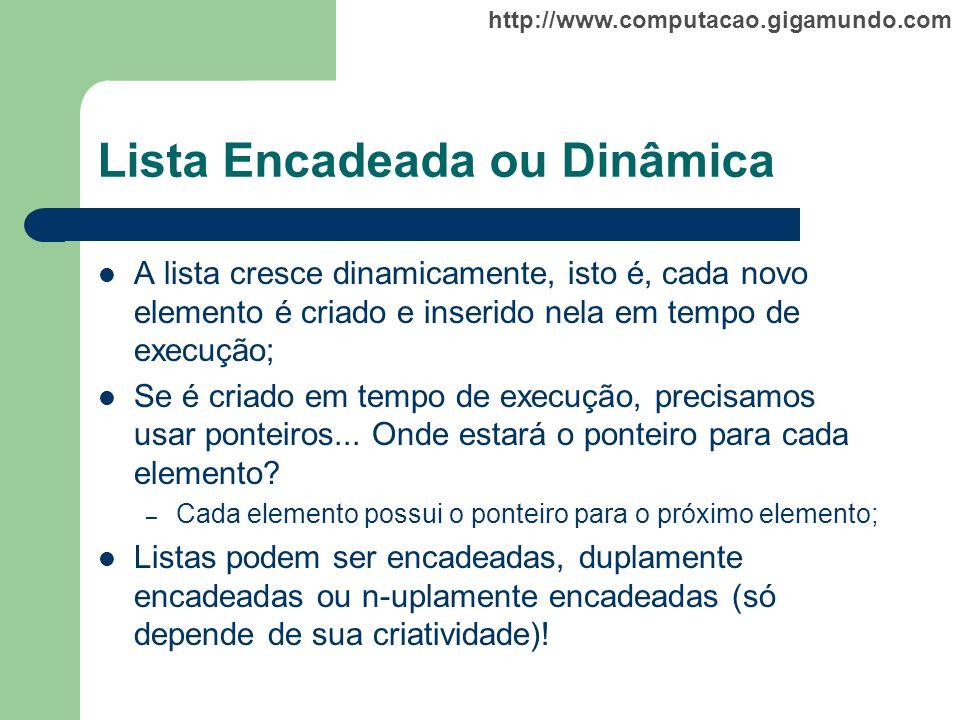 http://www.computacao.gigamundo.com Lista Encadeada ou Dinâmica A lista cresce dinamicamente, isto é, cada novo elemento é criado e inserido nela em t