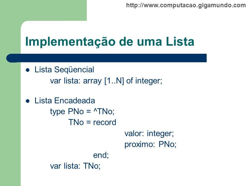 http://www.computacao.gigamundo.com Implementação de uma Lista Lista Seqüencial var lista: array [1..N] of integer; Lista Encadeada type PNo = ^TNo; T