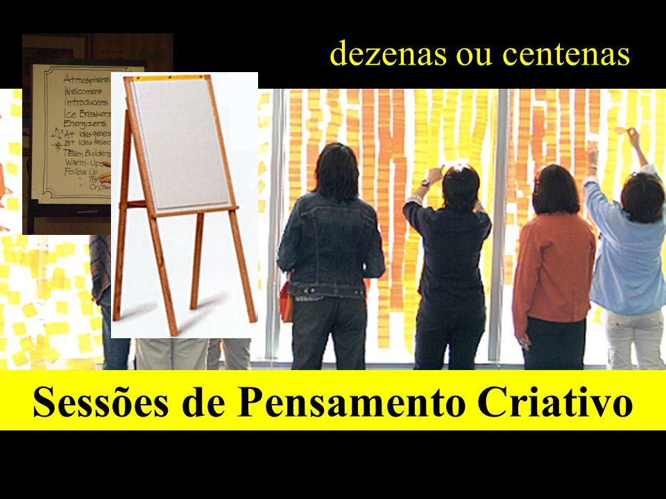 dezenas ou centenas Sessões de Pensamento Criativo