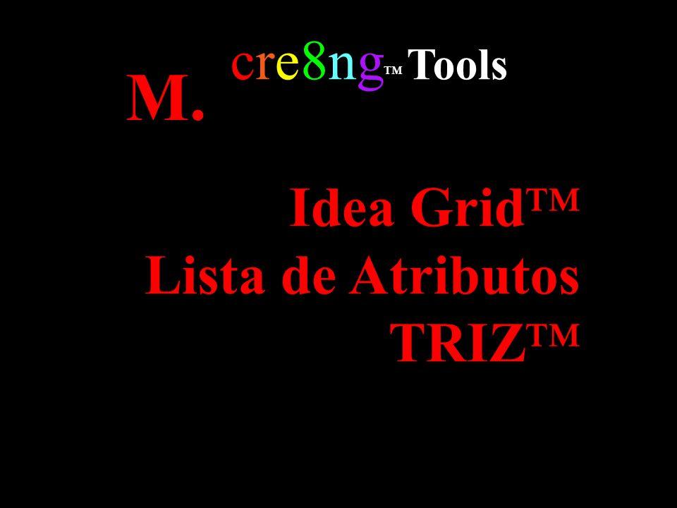 Idea Grid Lista de Atributos TRIZ cre8ng Tools M.