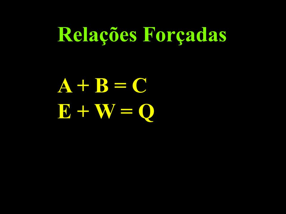Relações Forçadas A + B = C E + W = Q