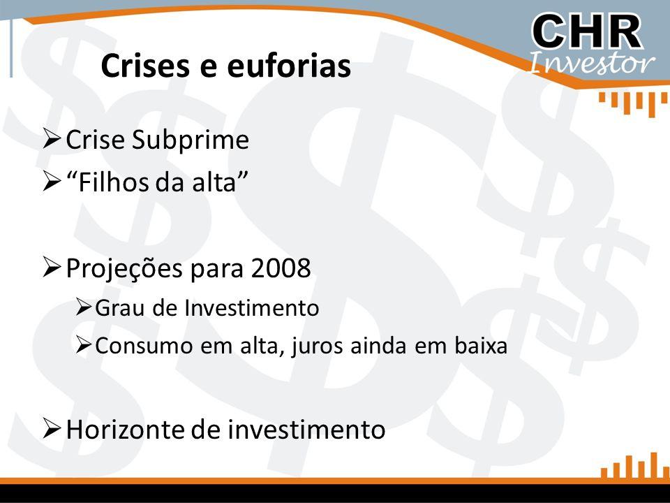 Crises e euforias Crise Subprime Filhos da alta Projeções para 2008 Grau de Investimento Consumo em alta, juros ainda em baixa Horizonte de investimen