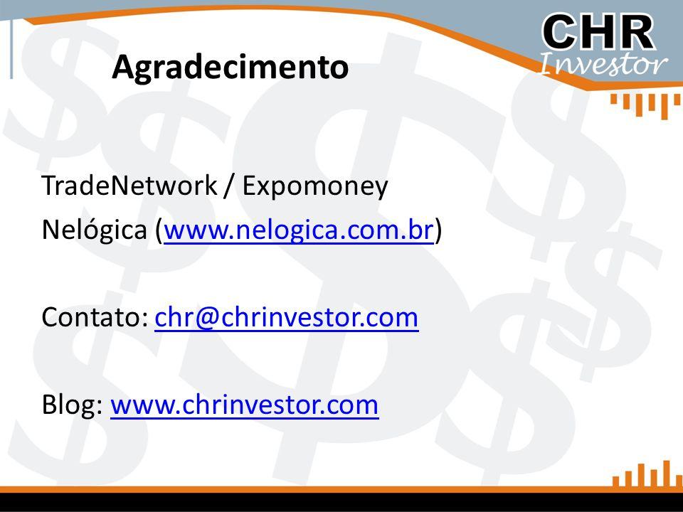 Agradecimento TradeNetwork / Expomoney Nelógica (www.nelogica.com.br)www.nelogica.com.br Contato: chr@chrinvestor.comchr@chrinvestor.com Blog: www.chr