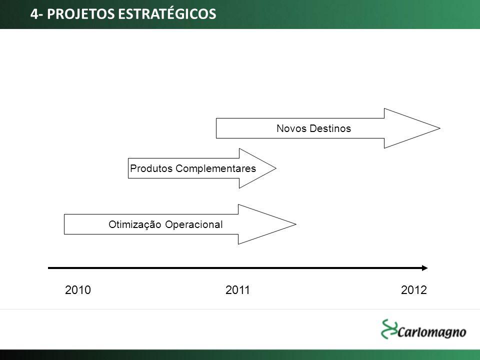 Produtos Complementares Novos Destinos Otimização Operacional 201020112012 4- PROJETOS ESTRATÉGICOS