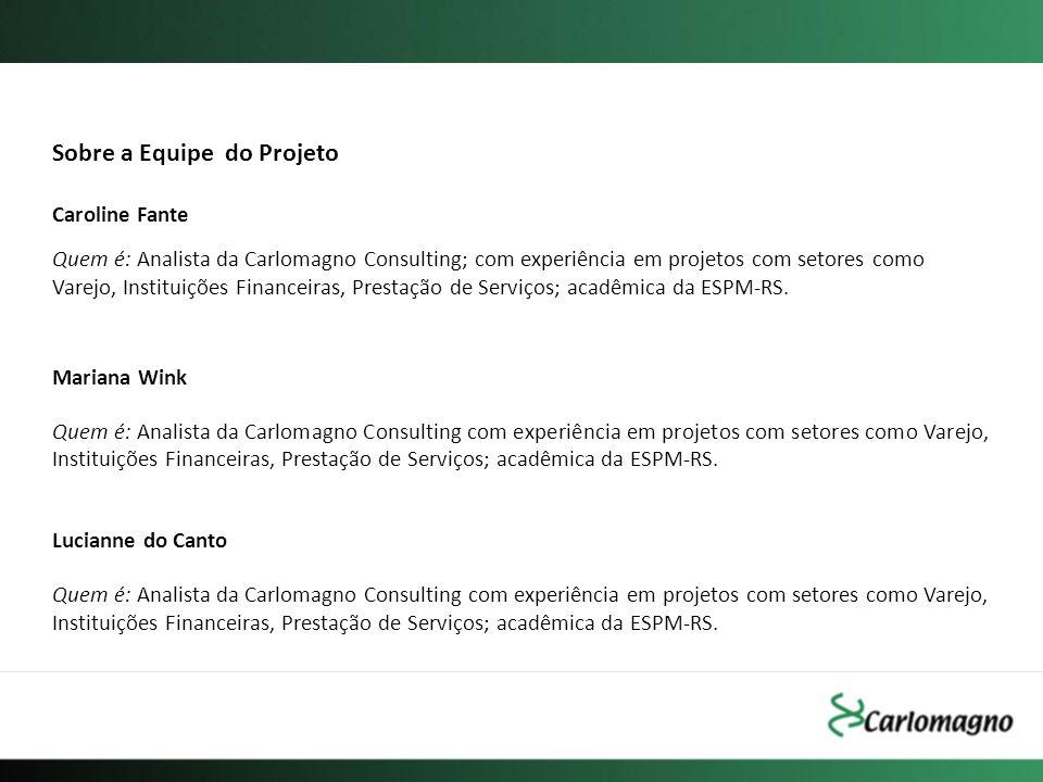 Sobre a Equipe do Projeto Caroline Fante Quem é: Analista da Carlomagno Consulting; com experiência em projetos com setores como Varejo, Instituições